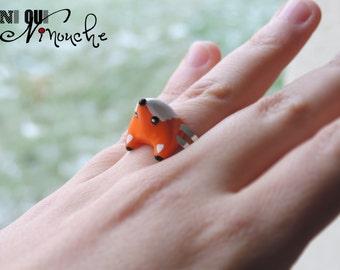 Ring adjustable Fox (fimo) little polymer clay Christmas gift idea little fox cub head girl funny pet animal