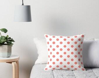 Coral Pillows, Polka Dot Pillows, Coral Polka Dot Pillow, Polka Dot Cushion, Polka Dot Pillow, Polka Dot Pillow Cover, Coral Cushion, Coral
