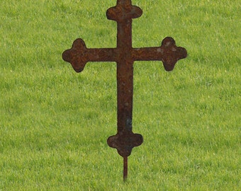 Cross Garden Stake / Roadside Stake / Garden / Garden Art / Garden Decor / Rustic / Christian / Metal Garden Art / Ornament / Celtic