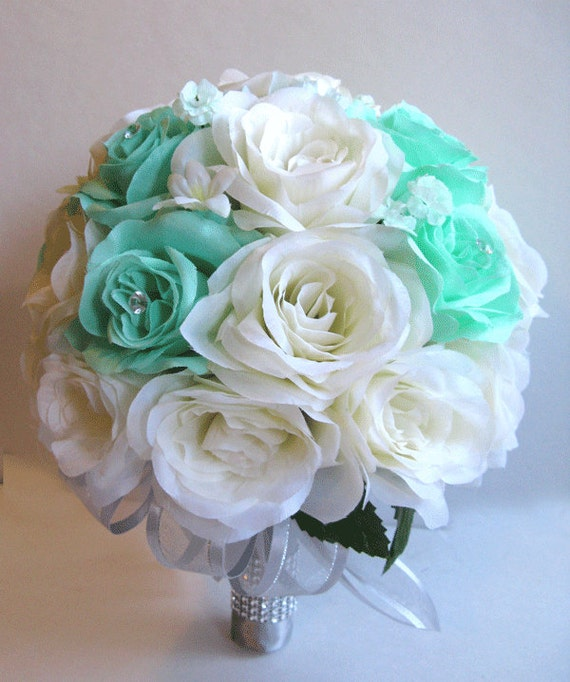 Wedding bridal bouquets silk flowers mint green ivory silver like this item mightylinksfo Images