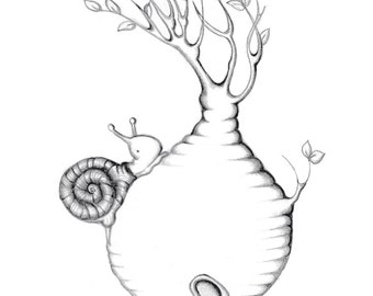 Adult coloring page, desert rose and snail, instant download, printable art, adult coloring,handmade drawing,DIY art papercraft,instant art,