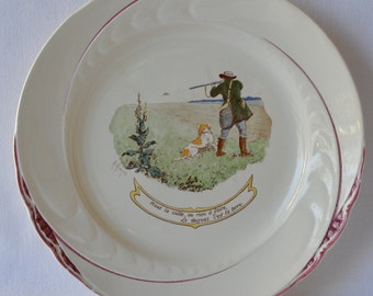 French Antique Longchamp Majolica Plate - Le Deyeux Set by Maurice Moisand 1911-1914 - Hunt Hunting Theme