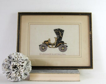 Studebaker Electric 1904 - Vintage Framed Embroidery Art - Antique Motor Car - Black Automobile Art - Embroidered Car Vintage Car Wall Decor