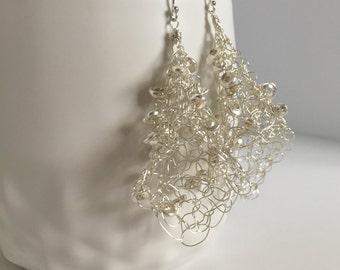 Sterling Silver Wire Crochet Earrings, Large Light Weight Earrings, Whimsical Silver Earrings, Wire Earrings, Wire Crochet Earrings