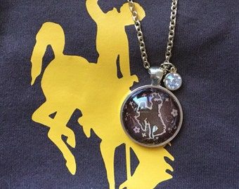 Wyoming Bucking Horse Necklace ~~Offically licensed University of Wyoming Product