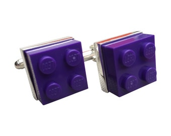 Cufflinks made using Purple Lego Brick with Free Cuff Link Box and Free Shipping