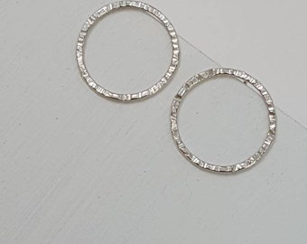 Silver Circle Stud Earrings In 3 Sizes  -  Hammered Textured Sterling Silver Open Circle Earrings   -  Minimalist Round Silver Earrings