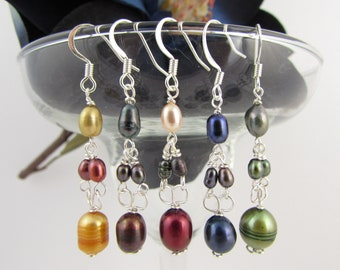 Freshwater Pearl Yellow Brown Red Blue Green Wire Wrap Silver Plate Dangle Earrings Customize
