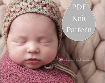 PDF Knit Pattern #0090 The Catarina Knit Bonnet Newborn Knit Pattern PDF Tutorial Intermediate Instruction Newborn Photography Prop Dk Yarn