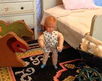 Vintage German Miniature Caco Baby Doll from the 1960's Like New with Wrist Tag for 1:12 Scale Dollhouse