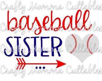 Baseball Sister SVG file // Baller Sister SVG // Sister Cut File // Ball sister Silhouette File // Cutting File // Little Sis SVG file