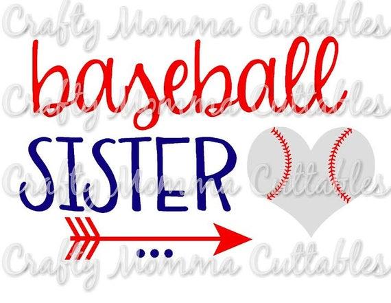 baseball sister svg file baller sister svg sister cut file rh etsystudio com Baseball Word Clip Art Funny Sister Clip Art