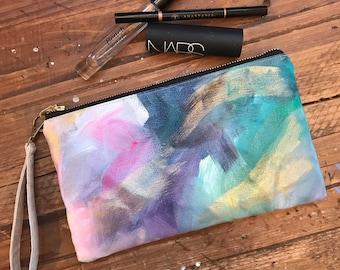 Hand-Painted Canvas Zipper Pouch with Wrist Strap #11 - zip pouch, canvas pouch, pencil case, wristlet