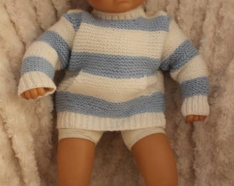 Blue and white striped two-tone jumper