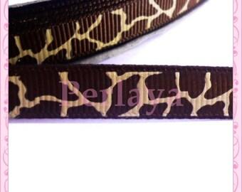 1 meter Ribbon 9mm grosgrain Brown giraffe pattern