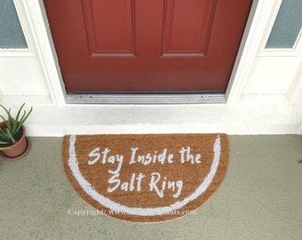 Stay Inside the Salt Ring Half Moon Custom Hand Painted Fandom Welcome Doormat by Killer Doormats