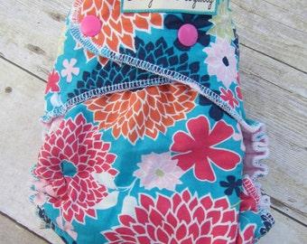 Flower  -  Standard Wear Hybrid Fitted Cloth Diaper with Hidden Bamboo Fleece