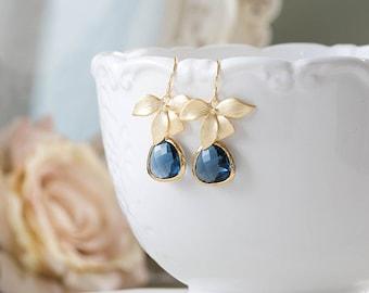 Gold Orchid Flower Navy Blue Earrings Montana Blue Dark Sapphire Blue Navy Blue Wedding Bridal Jewelry Bridesmaid Gift September Birthstone