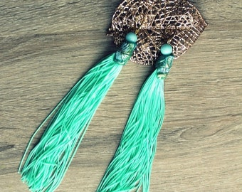 ON SALE Mint green earrings with tassel.