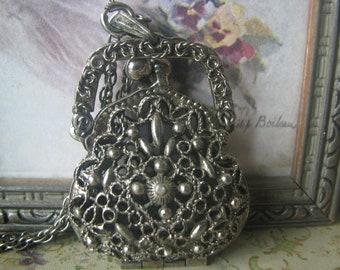 Vintage Gifts For Brides, Vintage ART Co. Silver Tone Filigree Purse Pendant, Filigree Purse Locket, Miniature Purse Necklace