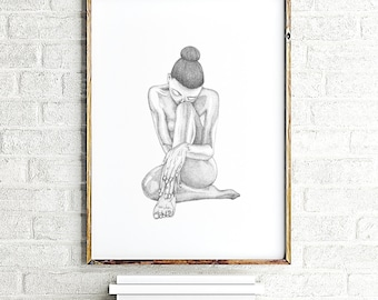 Erotic nudity, erotic art print, nude art, erotic wall art, bedroom wall decor naked woman, female nudity, minimalist ink painting nude girl