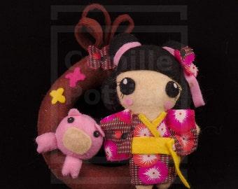 Asian Astrology Sign: Pig/OOAK/handmade Doll