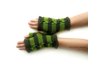 Knit Gloves, Fingerless Gloves, Knit Mittens, Short Gloves, Short Mittens, Fingerless Mitts, Green Gloves, Green Mitts, Green Mittens