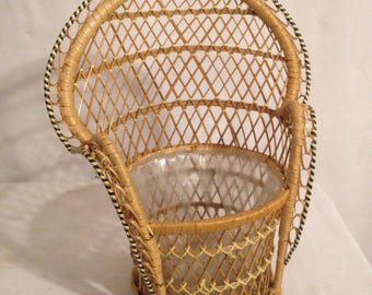 Ancient gate plant braided rattan chair Emmanuelle Vintage Style