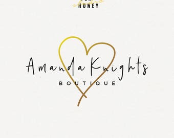 Gold Heart Logo, Feminine Logo, Gold Logo, Premade Logo, Heart Illustration, Modern Font Logo, Boutique Logo, Affordable Photography Logo