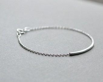 Sterling Silver Bar Bracelet, Minimal Sterling Silver Bracelet, Silver Tube, Simple Silver Bracelet, Dainty Silver Sliding Tube, Anklet