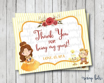 Personalized Printable Belle Note Cards, Personalized Beauty & The Beast Thank You Cards, Belle Birthday Thank You Cards