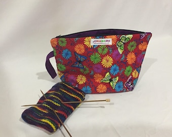 Butterfly Sock sack, knitting bag, project bag, zippered bag