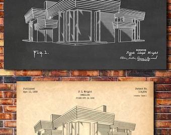 Frank Lloyd Wright House Patent Print Art 1939