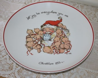 Kewpie Plate Vintage Christmas 1973 Rose O'Neill Let Joy Be Everywhere