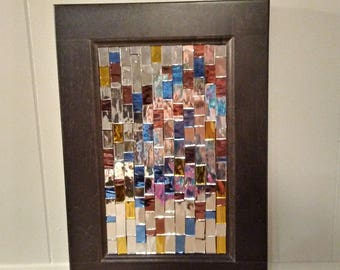 Mosaic home decor - mirror mosaic - upcycle home decor- glass art - stained glass home decor - mirror - mosaic art - cupboard door art