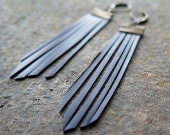 Black Fringe Bike Tube Earrings, Upcycled Bike Tire Parts, Vegan Leather, Geometric Modern, Antiqued Brass, Festival, Boho