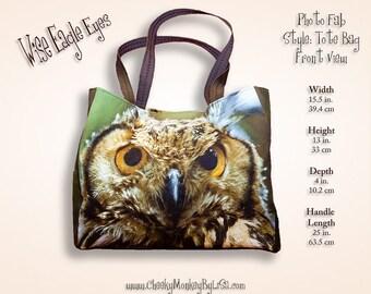 Owl tote bag for teachers, bird tote weekender bag overnight, zipper tote bag, owl diaper bag zippered tote purse, owl purse, bags purses