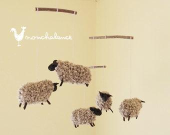 Sheep Mobile,Baby Mobile Sheep,Natural Nursery Sheep