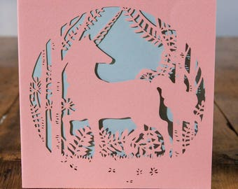 Unicorn Greeting Card - luxury laser cut-out -made in England