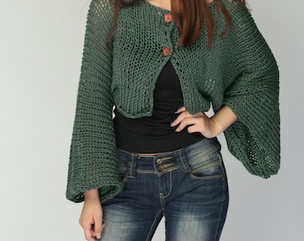 Hand Knit cardigan Fall green Kimono sleeve shrug/ little cardigan