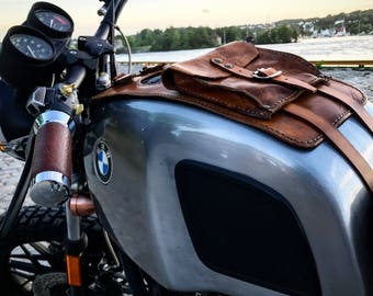 BMW r45 r65 r80 R100 series leather tank belt and documents bag Cafe Racer and scrambler. COD 33