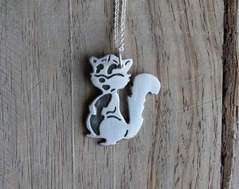 Squirrel fine silver pendant