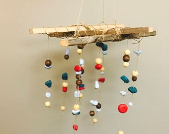 Wood & Clay Hanging Mobile
