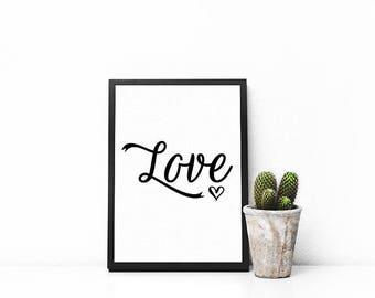 Love | A5 | A4 | Print | Monochrome | Typography | Nordic | Scandi | Home Decor | Nursery | Baby | Bedroom Decor | Bedroom Print