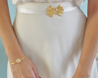 Bridal Waist Belt - Gold Belt - White Belt - Wedding Dress Belt - sash Belt - Skinny Belt - Wedding Gown Belt - Wedding Belt - bridal sash