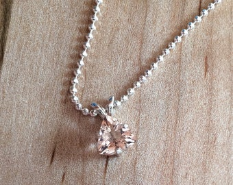 NEW REDUCED PRICE ***Morganite Trillion Cut in Sterling Silver Setting
