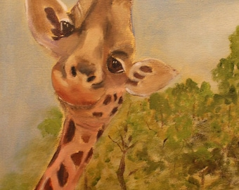 RAFI THE GIRAFFE, Original 12 X 24 Oil Painting of giraffe by Lesley Mills from Merlin's Garden Free Domestic Shipping