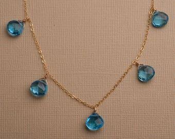 Blue Topaz Necklace, December Birthstone Necklace, Capri Blue Topaz, Swiss Blue Topaz, Bright Blue Gemstone Necklace