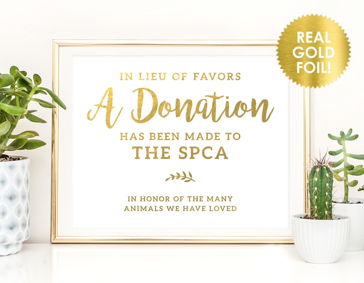 WEDDING DONATION SIGNS in Gold Foil / In Lieu of Favors