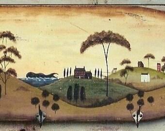 Prim Folk Art Ocean Landscape Board E-Pattern by Donna Atkins - extra large pattern. DIY painting craft.